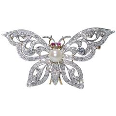 Antique Edwardian pearl diamond ruby gold platinum butterfly