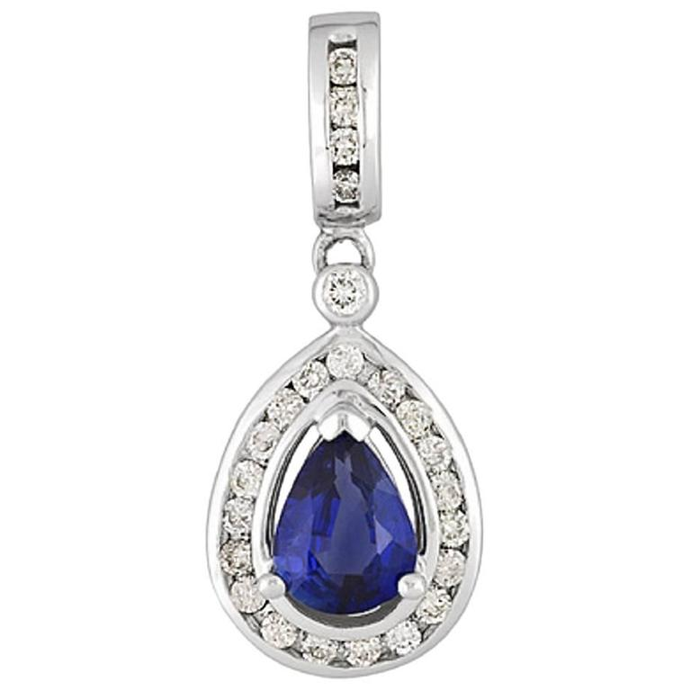 Pear Shape Diamond Sapphire Gold pendant Necklace