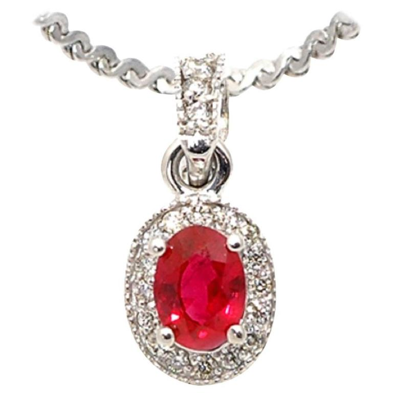 Oval Ruby Diamond gold Pendant Necklace For Sale