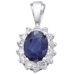 Oval Sapphire Round Diamond Gold Pendant