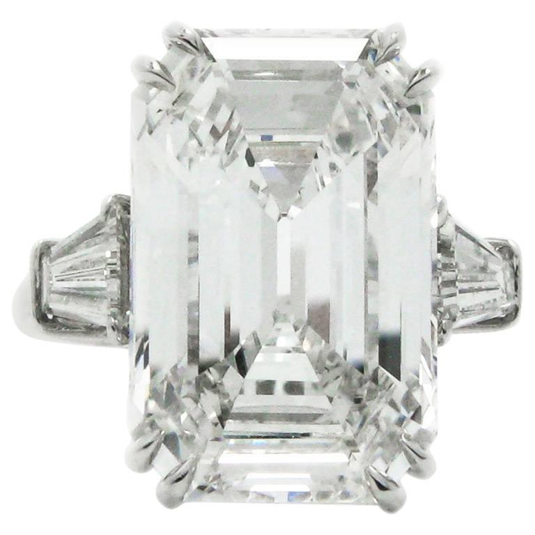 Classic 9.38 Carat GIA Emerald Cut Diamond Platinum Ring
