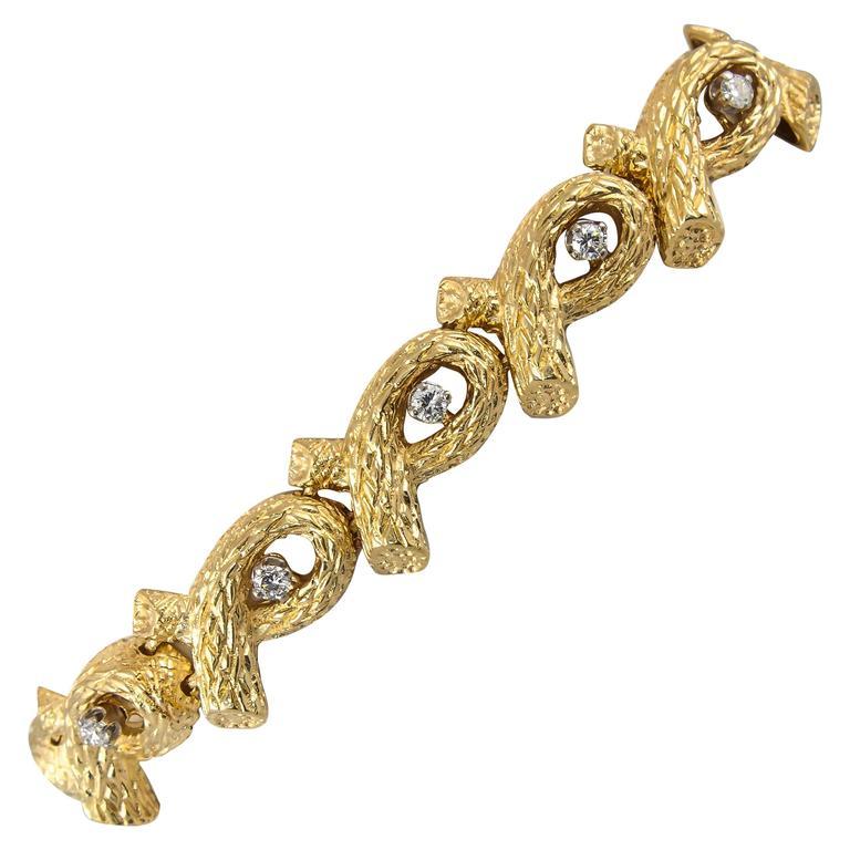 1960s Tiffany & Co. Open Link Bamboo Design Diamond Gold Bracelet