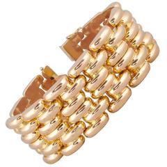 1950s Six Row Bold Dramatic HeavyTank Style High Polish Gold Link Bracelet
