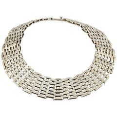 1980s Seven Row Bold Heavy Open Link Silver Wide Collar Necklace