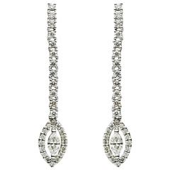 0.78 Carat Round and Marquise Diamonds Drop Dangle Straight Earrings