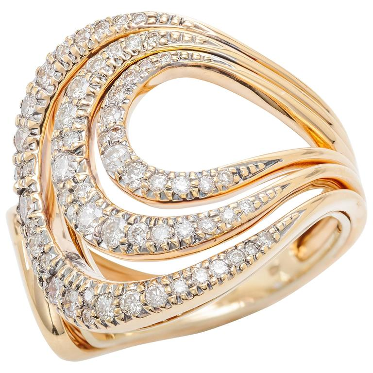 H. Stern Diamonds Two Color Gold Iris Ring