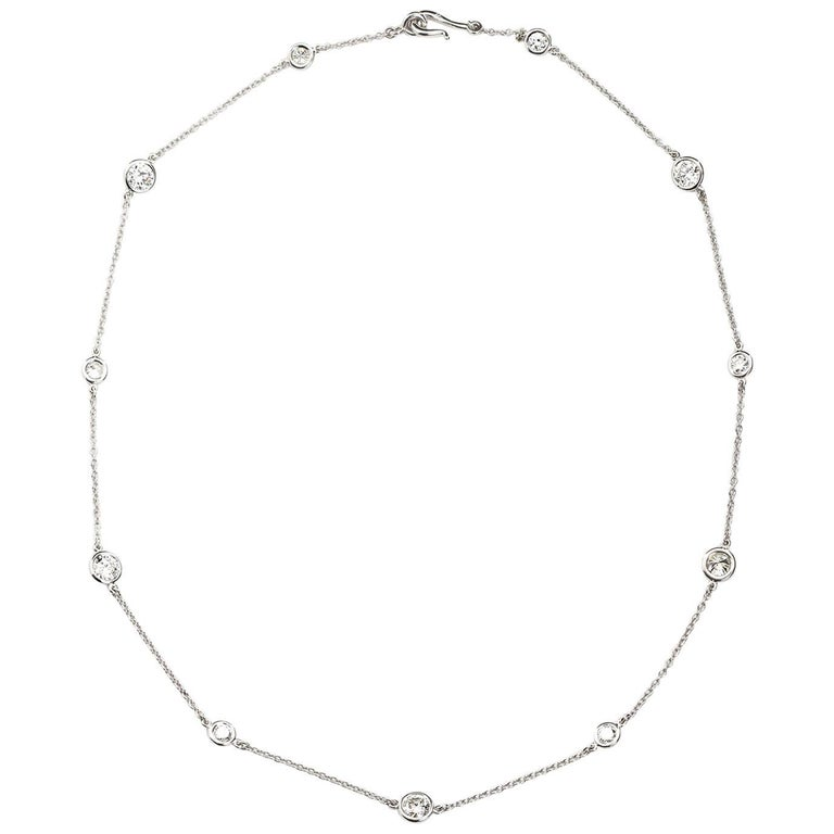 4.80 Carat Diamond by the Yard Necklace For Sale