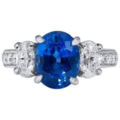 H & H 4.32 Carat Madagascar Blue Sapphire and Diamond Platinum Ring