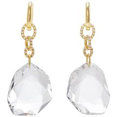 H. Stern DVF 100.35 Carat Quartz 0.79 Carat Diamonds Gold Earrings