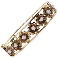 1960s Opal Gold Floral Bangle Bracelet