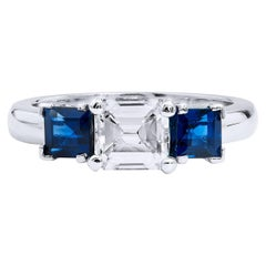 Handmade Three-Stone Diamond and Sapphire 18-Karat Gold Ring by H&H Jewels