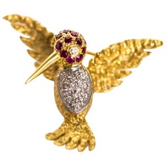 1980s Ruby Diamond Gold Bird Brooch Pin