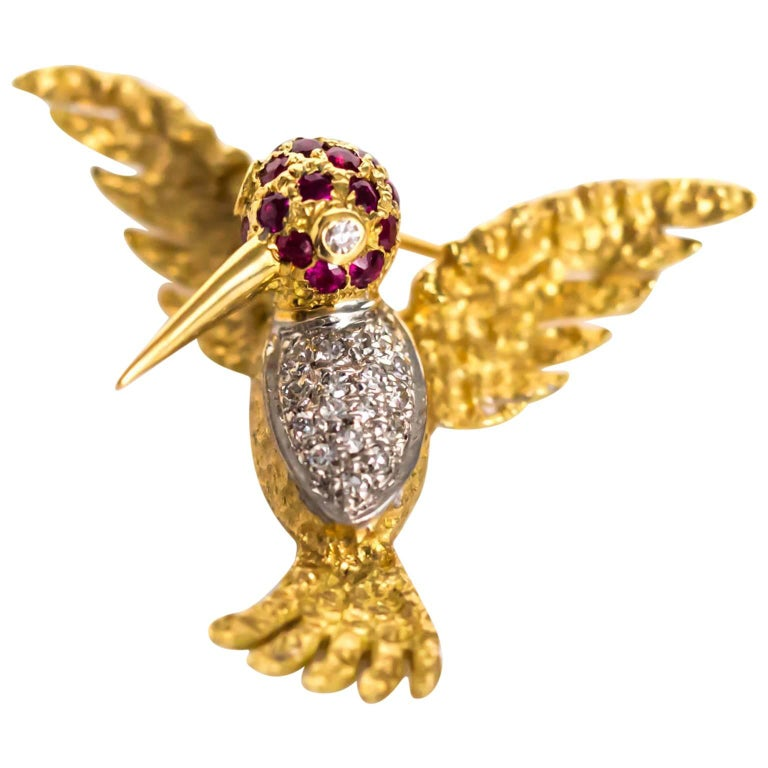 1980s Ruby Diamond Gold Bird Brooch Pin For Sale