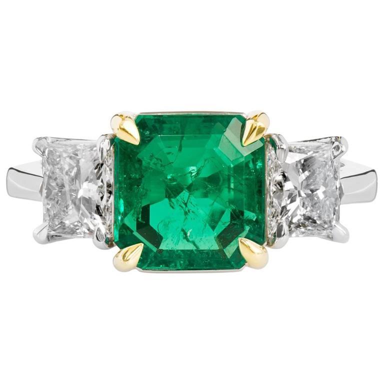 H & H 2.27 Carat Colombian Emerald Diamond Gold Platinum Ring