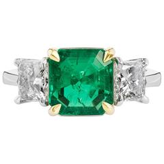 H & H 2.27 Carat Colombian Emerald Diamond Gold Platinum Ring