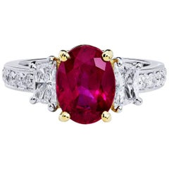 H & H GIA Certified 2.95 Burmese Ruby Diamond Gold Platinum Ring
