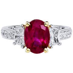 H& H 2.95 Burmese Ruby Diamond Gold Platinum Ring