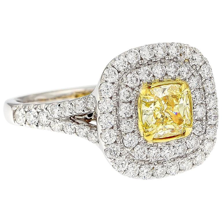 GIA Certified Fancy Yellow Diamond Gold Ring