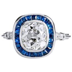 Sapphire Diamond Gold Platinum Ring