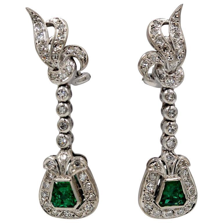 1950s retro emerald palladium drop earrings at 1stdibs