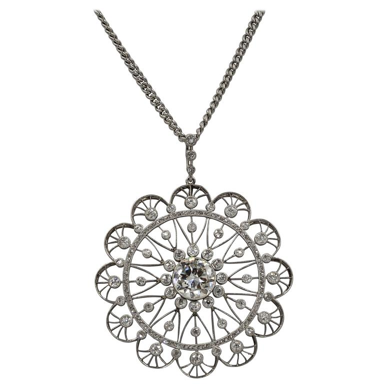 Edwardian Diamond Platinum Filigree Pendant 1