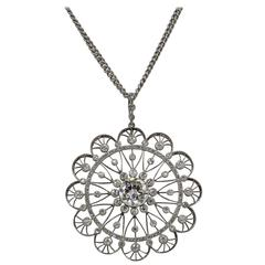 Edwardian Diamond Platinum Filigree Pendant