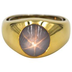 1990s Gents Star Sapphire Gold Band Ring