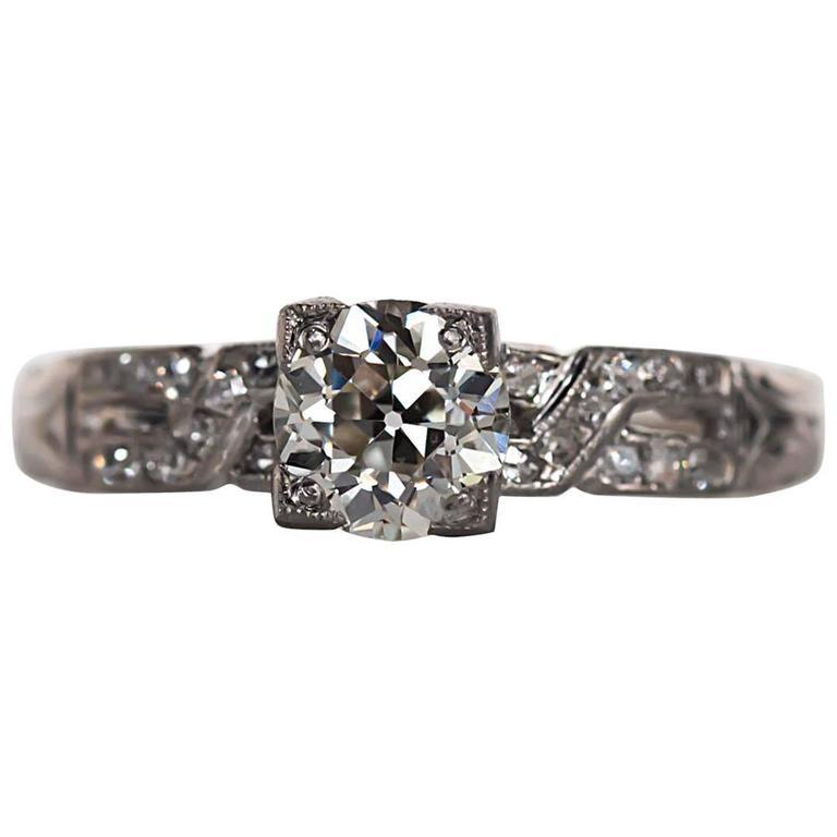 1920s deco certified 83 carat platinum engagement ring at 1stdibs