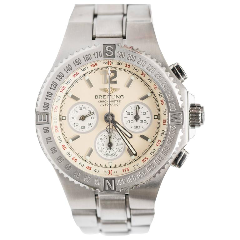 Breitling Stainless Steel Hercules Chronograph Automatic Wristwatch Ref A39363 1
