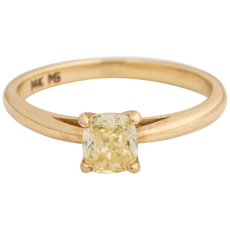 canary yellow diamond gold engagement ring for sale at 1stdibs. Black Bedroom Furniture Sets. Home Design Ideas