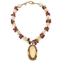 Deborah Liebman 270 Carat Citrine Pendant Citrine Garnet Yellow Gold Necklace