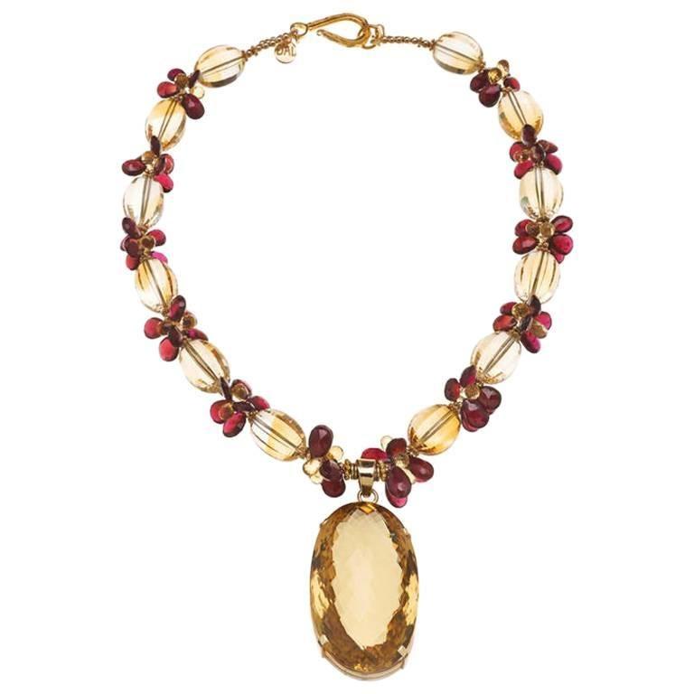 Deborah Liebman 270 Carat Citrine Pendant Citrine Garnet Yellow Gold Necklace 1
