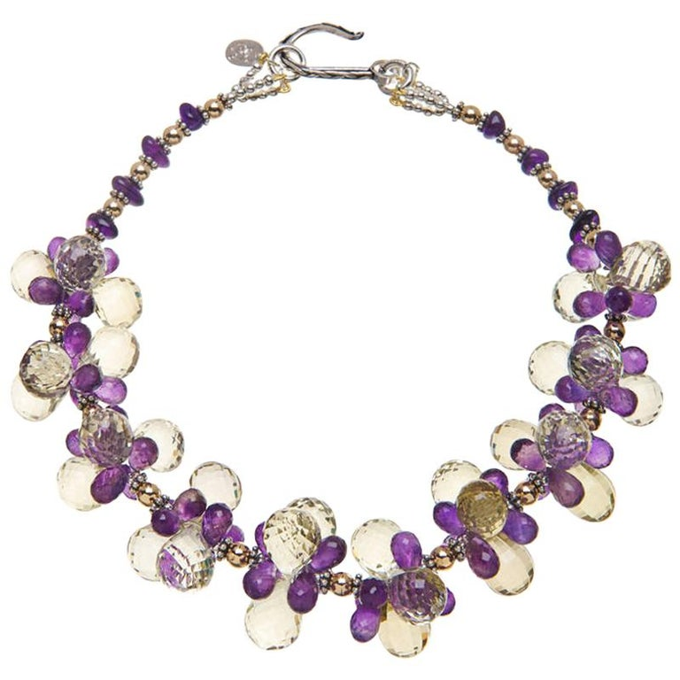 Deborah Liebman Lemon Quartz Amethyst Sterling Silver Yellow Gold Necklace