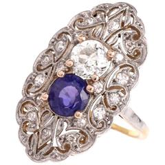 Antique Art Deco Sapphire Diamond Gold Platinum Filigree Ring