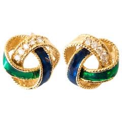 1950s Enamel Diamond Gold Wreath Stud Earrings