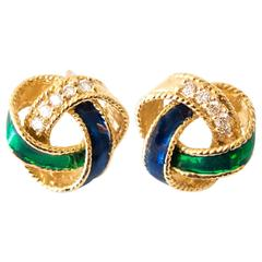 1950s Enamel Diamond Gold Wreath Stud Earrings