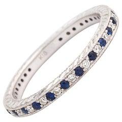 0.15 Carat Sapphire and Diamond 18 Karat Gold Eternity Band