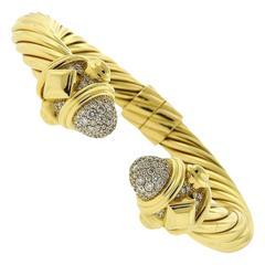 David Yurman Renaissance Diamond Gold Bangle Bracelet