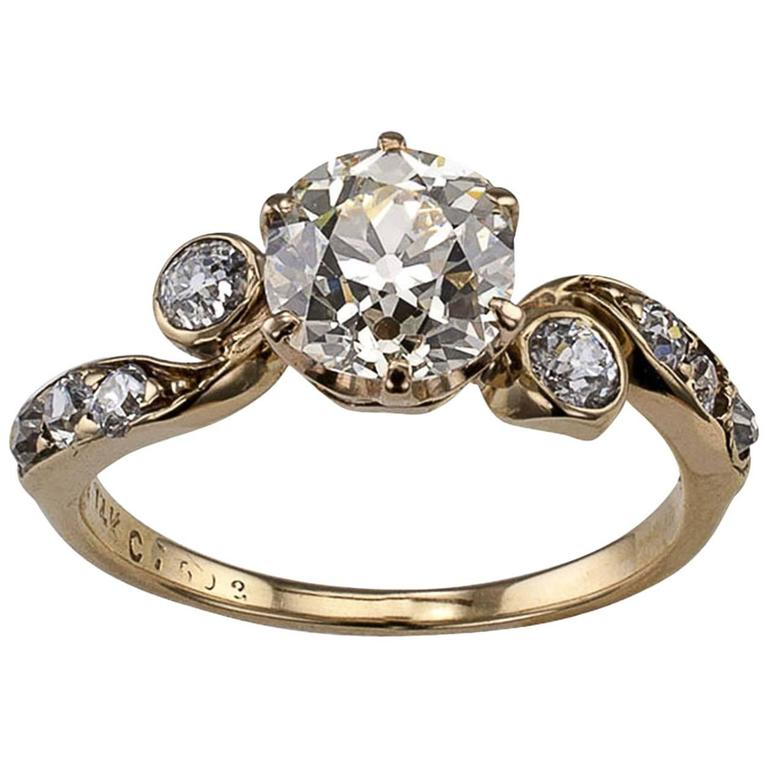 Victorian 1.42 Carat Cushion Diamond Engagement Ring For Sale