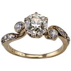 Victorian 1.42 Carat Cushion Diamond Engagement Ring