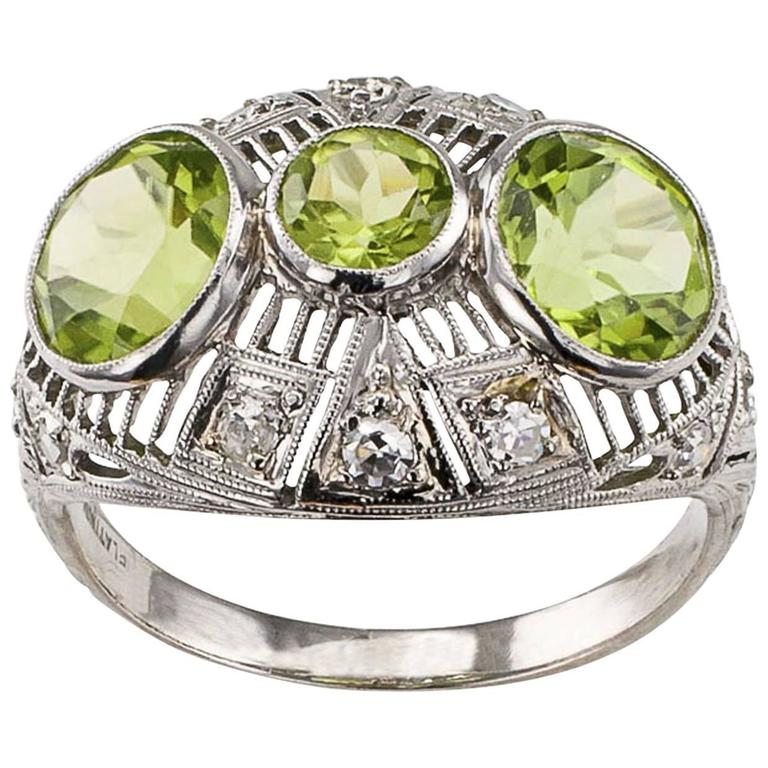 Art Deco Peridot Diamond Platinum Ring