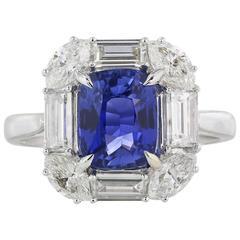 3.03 Carat No Heat Sapphire Diamond Gold Ring