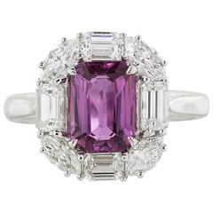2.03 Carat No Heat Pink Sapphire Diamond Gold Ring