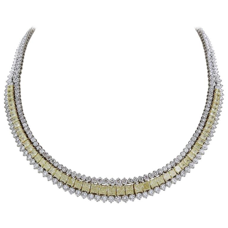 14.46 Carat Natural Canary Diamonds Gold Platinum Necklace