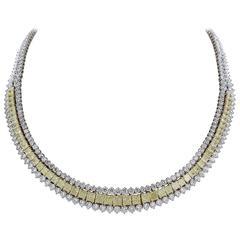 14.46 Carat Natural Canary Diamonds Gold Platinum Necklace
