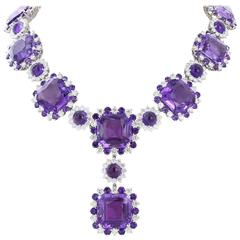 254.72 Carat Amethysts 26.33 Carat Diamonds Gold Necklace