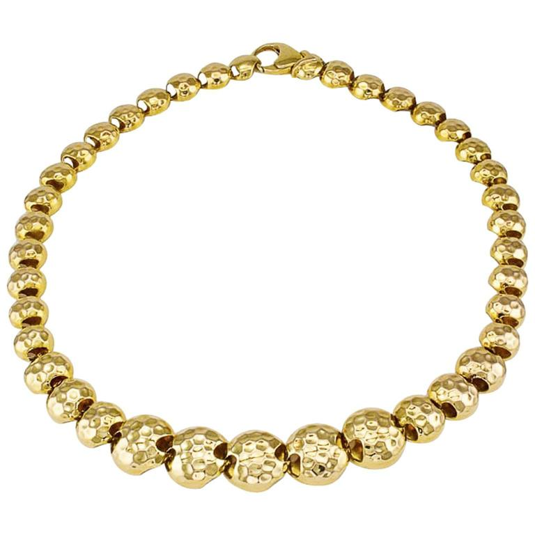 1980s Hammered Gold Bead Necklace