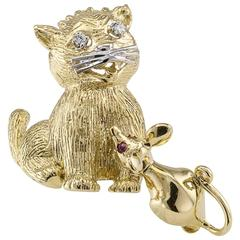 1960s Cat and Mouse Diamond Ruby Gold Brooch