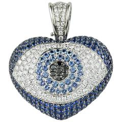 Theo Fennell Art Evil Eye Pendant in Blue Sapphire  and Diamond