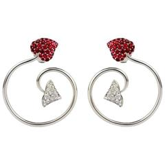 Dior  Pave Ruby Diamond Gold Twist Earrings